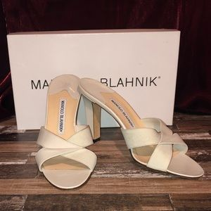 Manolo Blahnik Twist Cream Heeled Sandals